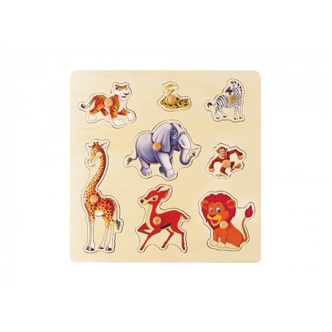 Safari Hayvanlar Puzzle Tutamaklı Ahşap