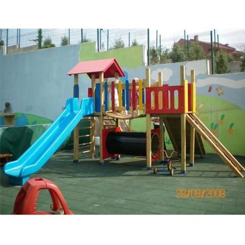 Ahşap Renkli Tünelli Oyun Parkı