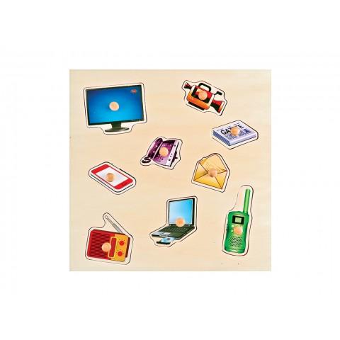 İletişim Aletleri Puzzle Tutamaklı Ahşap
