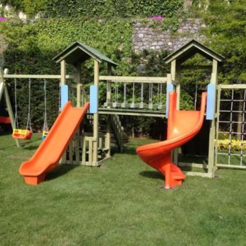 Ahşap İki Kuleli Stil Oyun Parkı